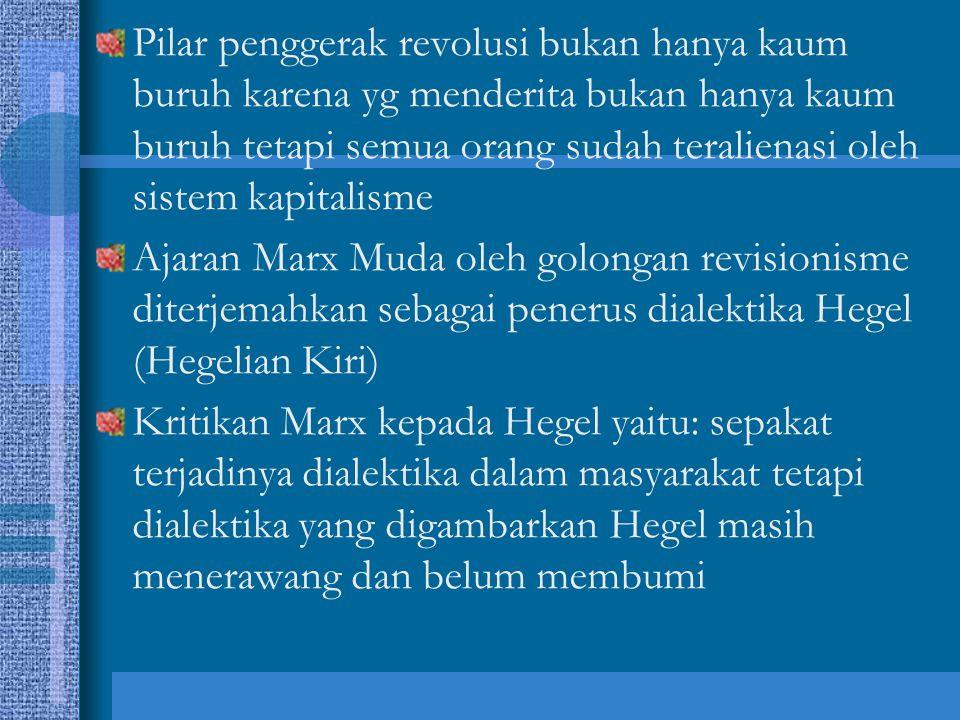 Pilar penggerak revolusi bukan hanya kaum buruh karena yg menderita bukan hanya kaum buruh tetapi semua orang sudah teralienasi oleh sistem kapitalisme