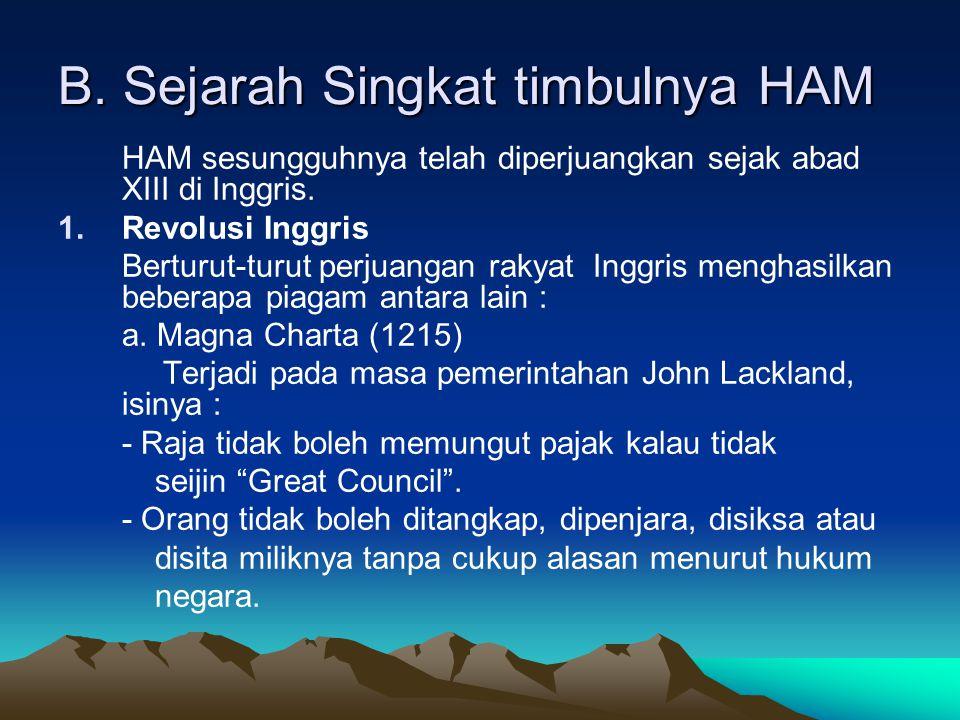 B. Sejarah Singkat timbulnya HAM