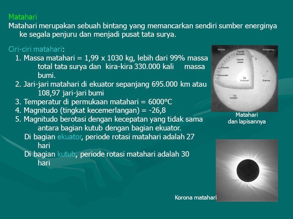 3. Temperatur di permukaan matahari = 6000°C