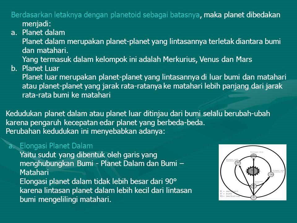 Berdasarkan letaknya dengan planetoid sebagai batasnya, maka planet dibedakan menjadi: