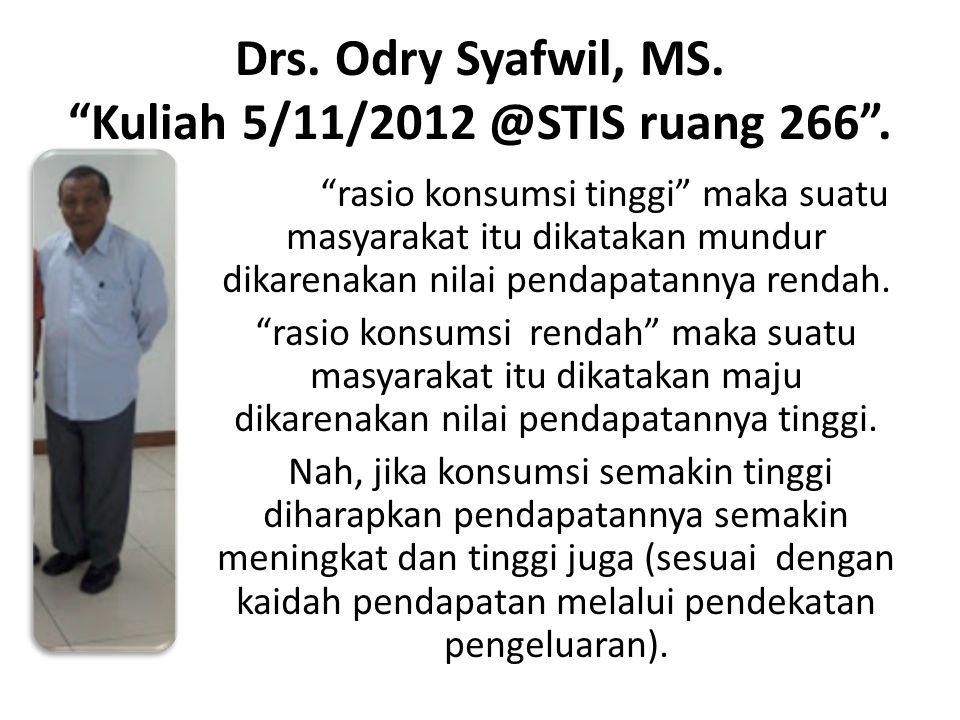Drs. Odry Syafwil, MS. Kuliah 5/11/2012 @STIS ruang 266 .