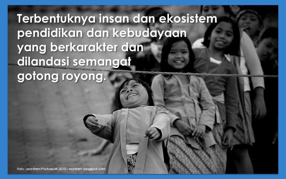Terbentuknya insan dan ekosistem pendidikan dan kebudayaan yang berkarakter dan dilandasi semangat gotong royong.
