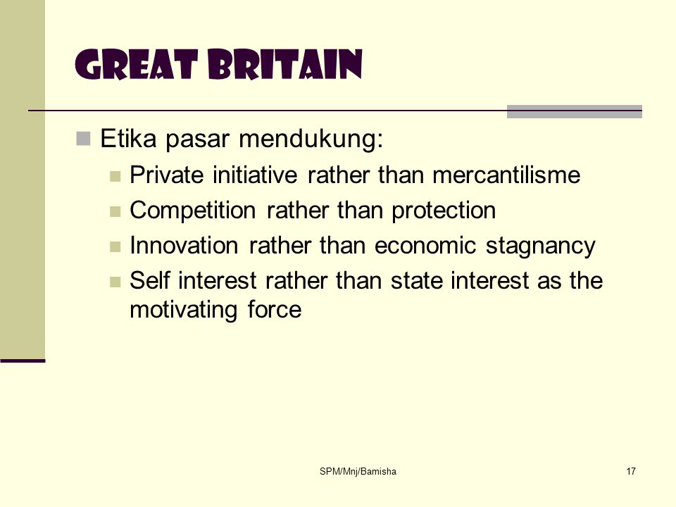 Great britain Etika pasar mendukung: