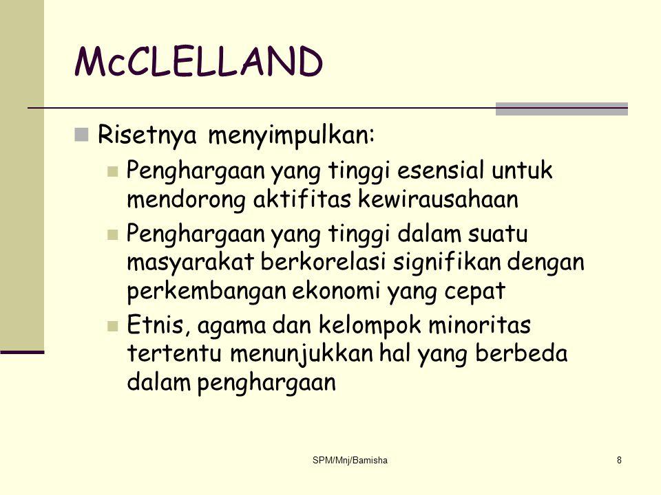 McCLELLAND Risetnya menyimpulkan: