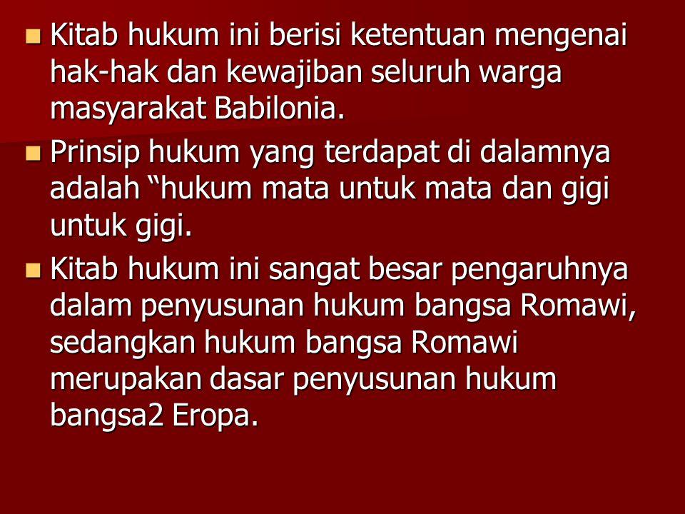 Kitab hukum ini berisi ketentuan mengenai hak-hak dan kewajiban seluruh warga masyarakat Babilonia.