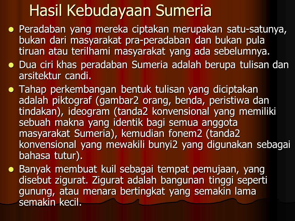 Hasil Kebudayaan Sumeria