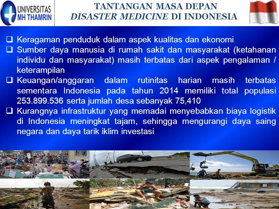 TANTANGAN MASA DEPAN DISASTER MEDICINE DI INDONESIA. Keragaman penduduk dalam aspek kualitas dan ekonomi.