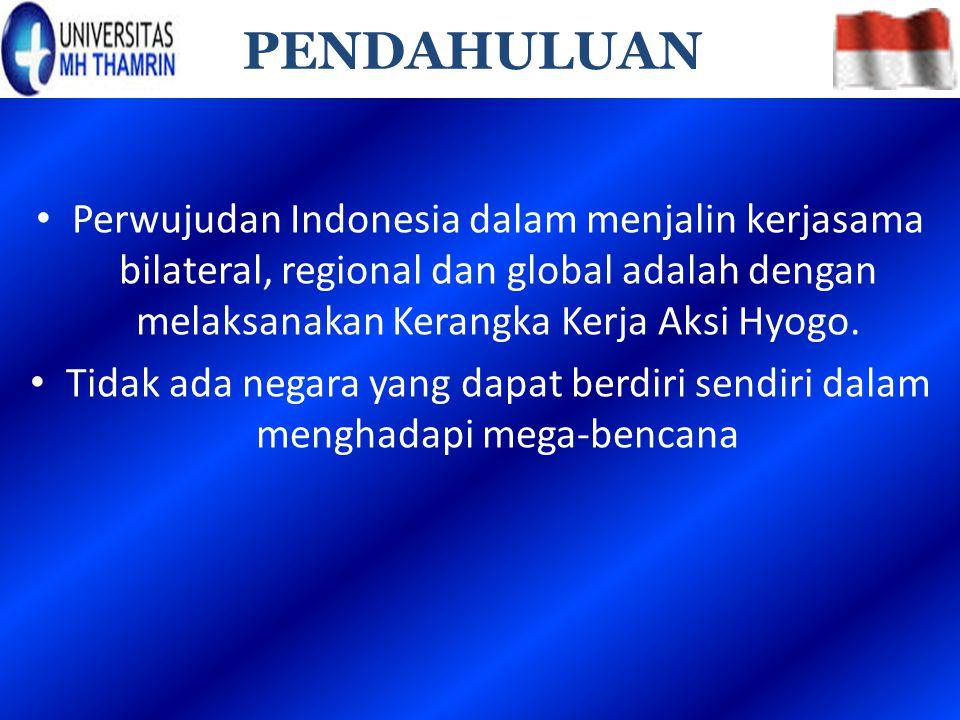 PENDAHULUAN Perwujudan Indonesia dalam menjalin kerjasama bilateral, regional dan global adalah dengan melaksanakan Kerangka Kerja Aksi Hyogo.