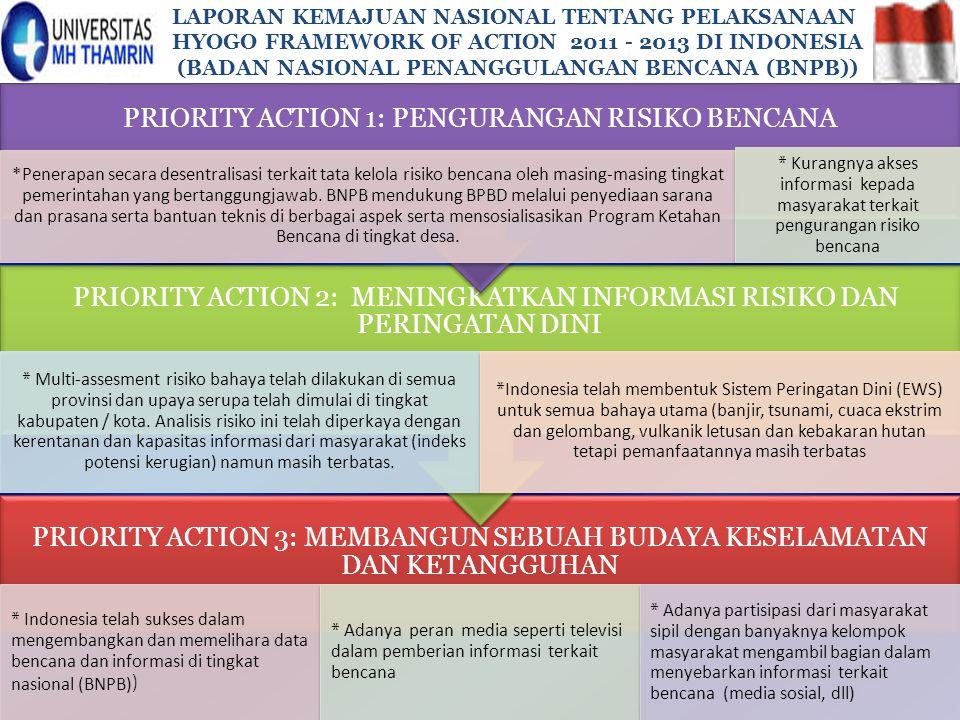 PRIORITY ACTION 1: PENGURANGAN RISIKO BENCANA