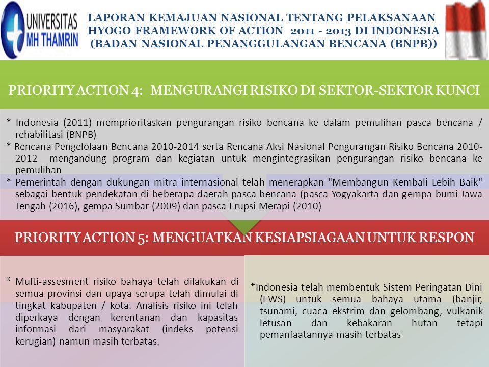 PRIORITY ACTION 4: MENGURANGI RISIKO DI SEKTOR-SEKTOR KUNCI
