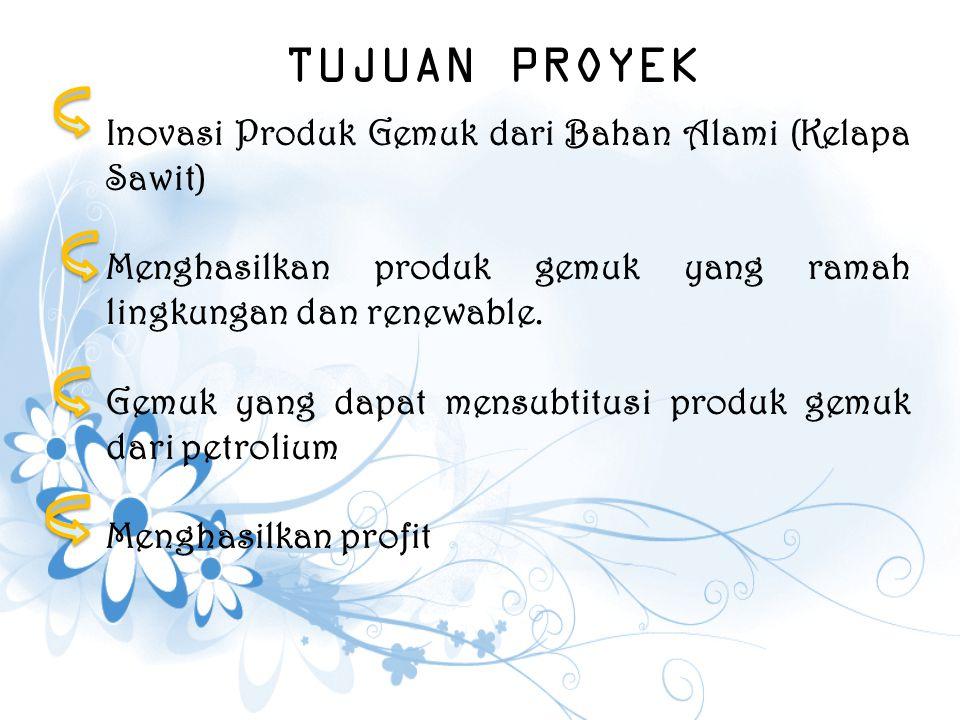 TUJUAN PROYEK Inovasi Produk Gemuk dari Bahan Alami (Kelapa Sawit)