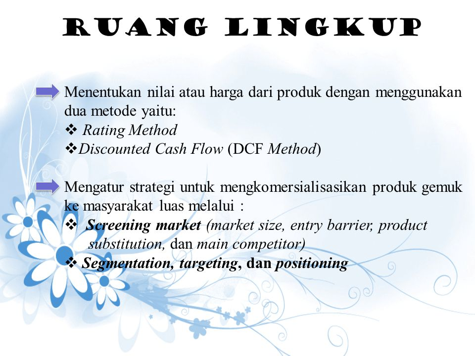 RUANG LINGKUP Rating Method Discounted Cash Flow (DCF Method)