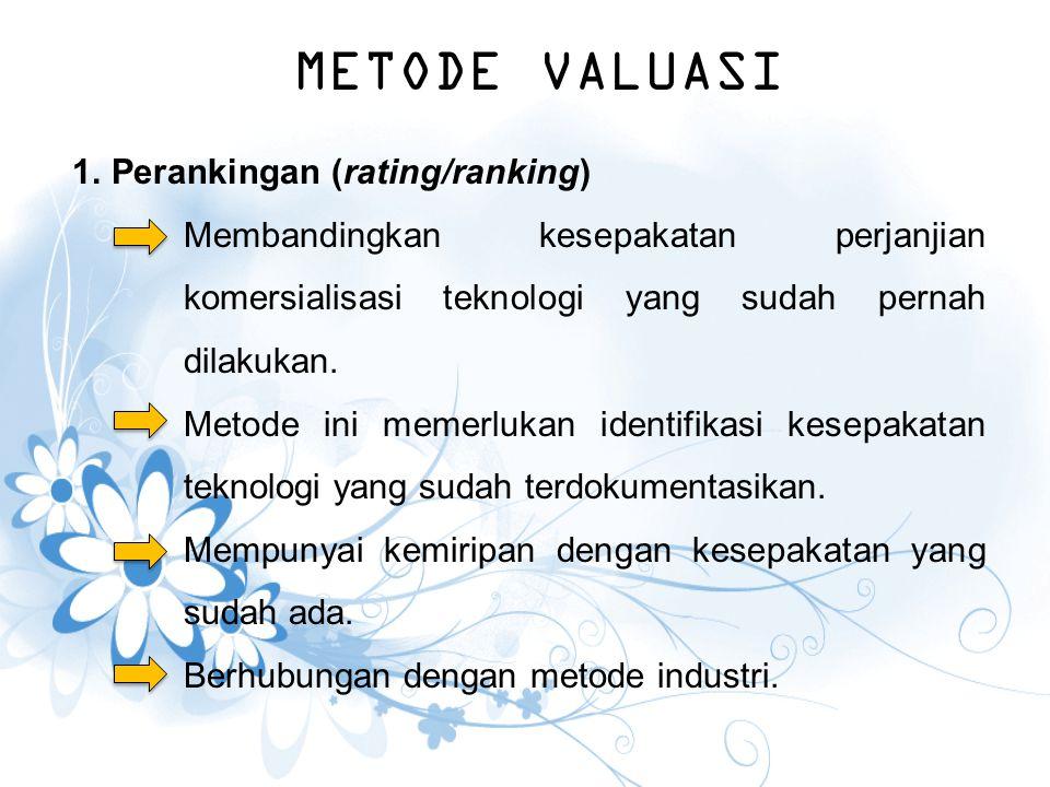 METODE VALUASI Perankingan (rating/ranking)