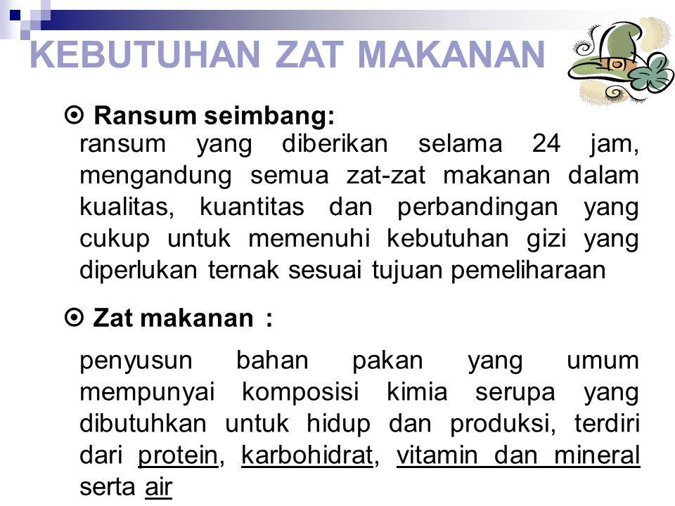 KEBUTUHAN ZAT MAKANAN  Ransum seimbang:  Zat makanan :