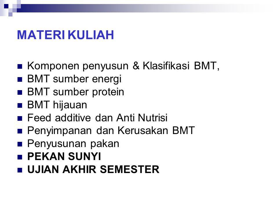 MATERI KULIAH Komponen penyusun & Klasifikasi BMT, BMT sumber energi
