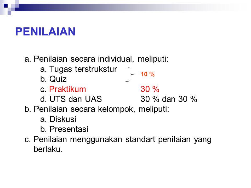 PENILAIAN a. Penilaian secara individual, meliputi: