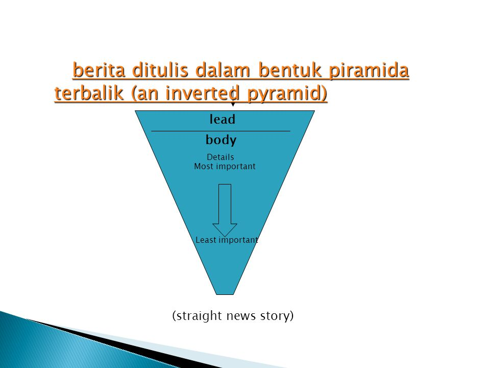 berita ditulis dalam bentuk piramida terbalik (an inverted pyramid)