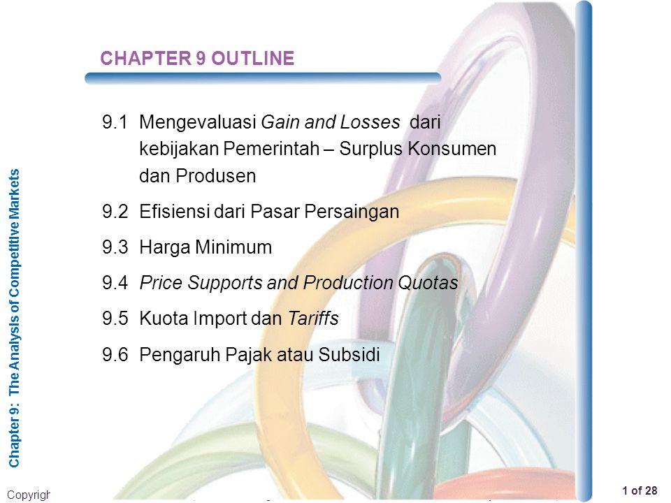 CHAPTER 9 OUTLINE 9.1 Mengevaluasi Gain and Losses dari kebijakan Pemerintah – Surplus Konsumen dan Produsen.