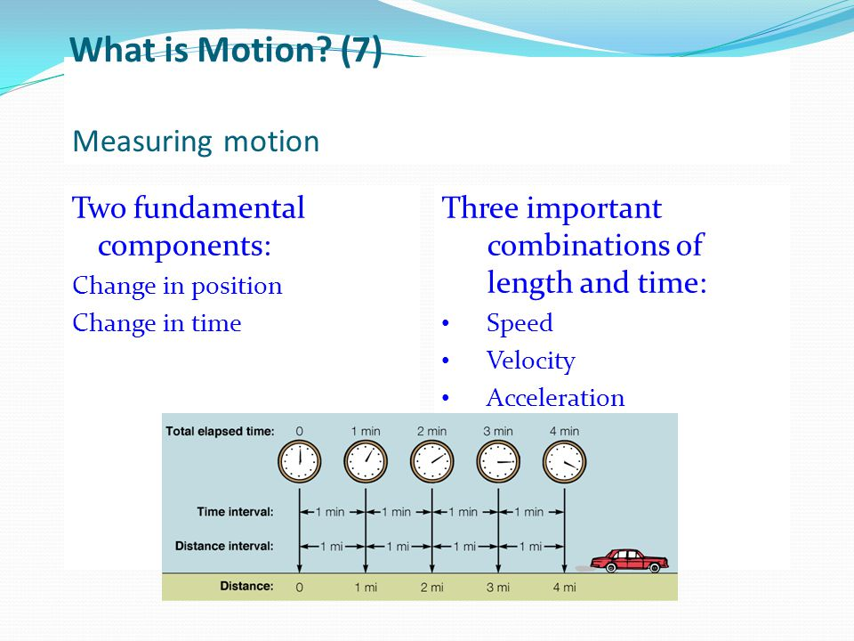 What is Motion (7) Measuring motion Two fundamental components: