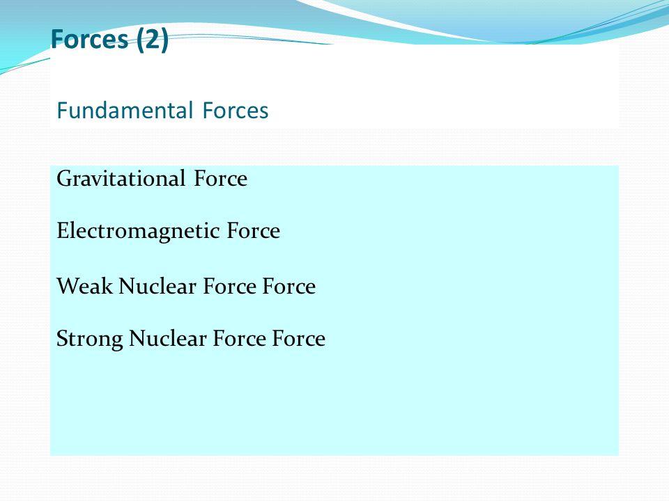 Forces (2) Fundamental Forces Gravitational Force
