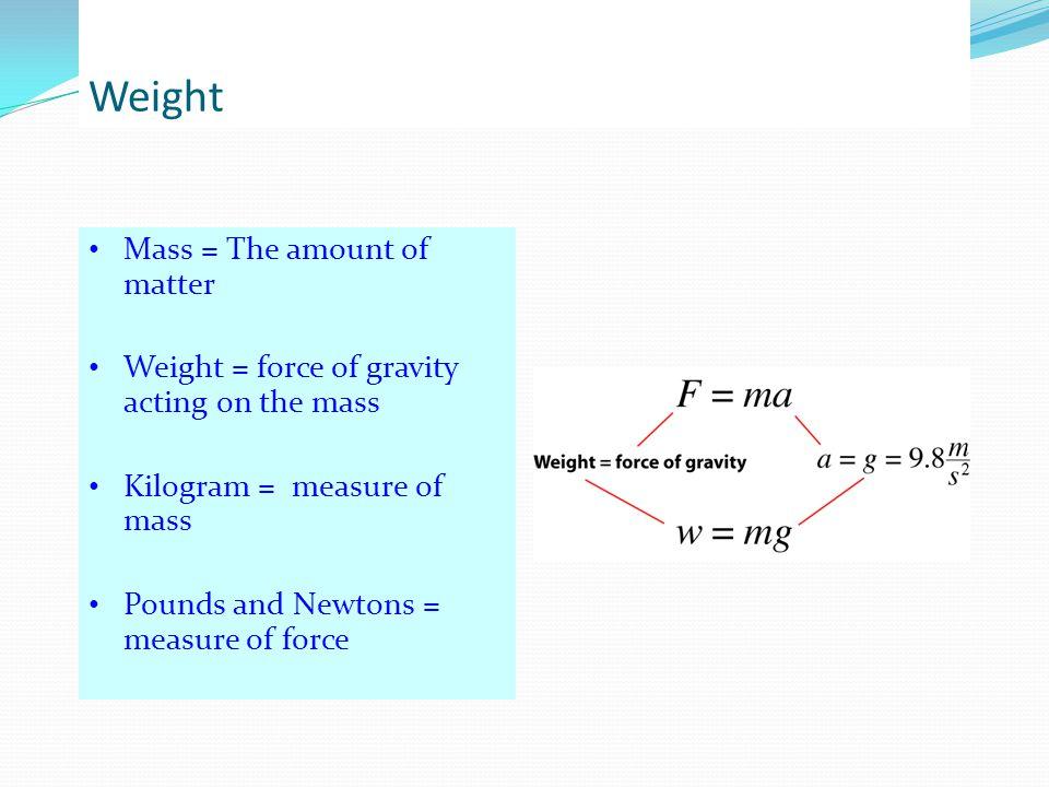 Weight Mass = The amount of matter