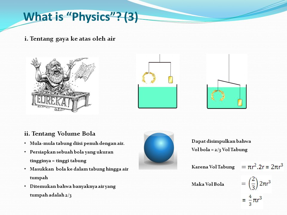 What is Physics (3) i. Tentang gaya ke atas oleh air