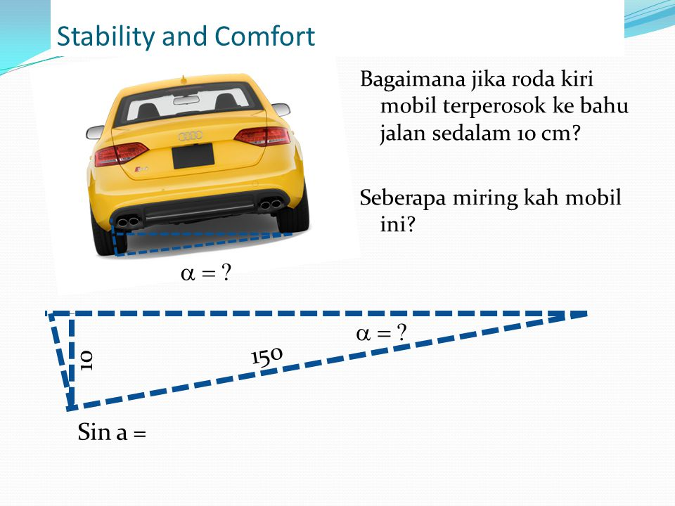 Stability and Comfort a = a = 150 10 Sin a =