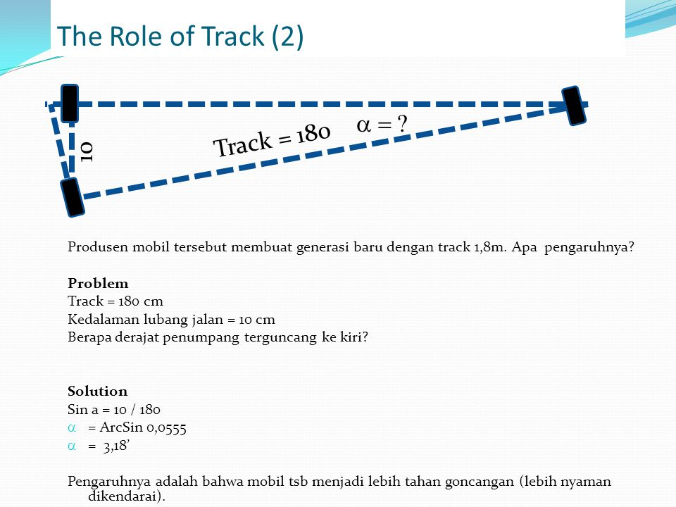 The Role of Track (2) a = Track = 180 10