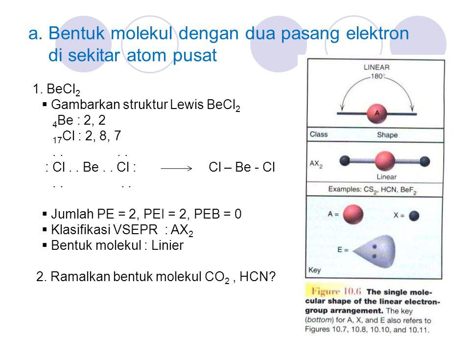 a. Bentuk molekul dengan dua pasang elektron di sekitar atom pusat