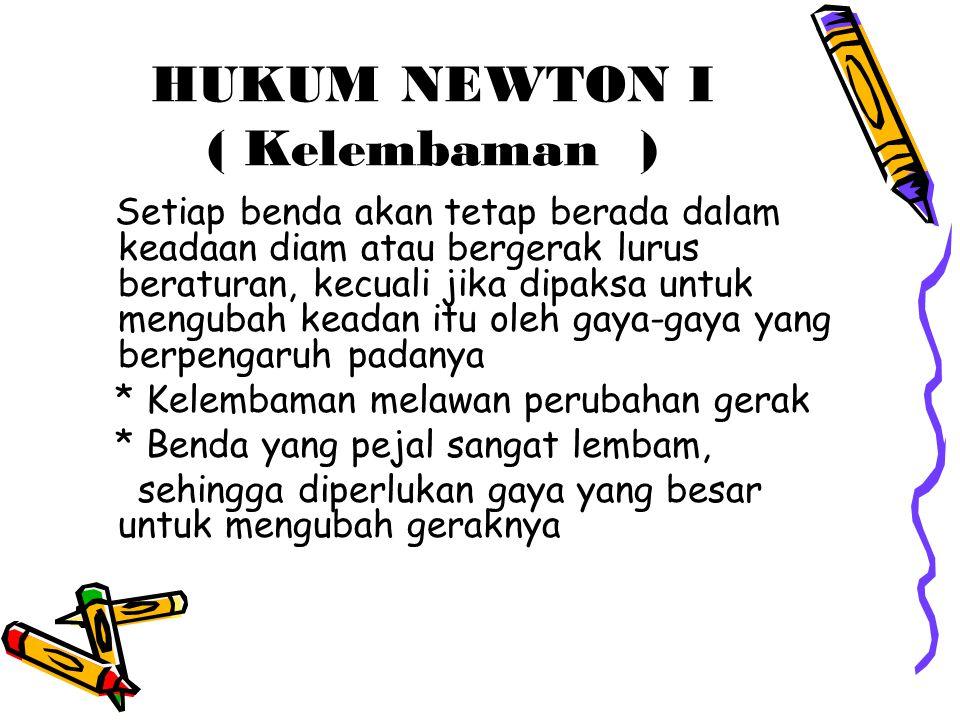 HUKUM NEWTON I ( Kelembaman )