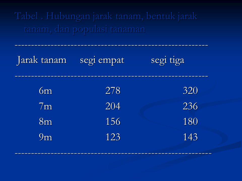 Tabel . Hubungan jarak tanam, bentuk jarak tanam, dan populasi tanaman