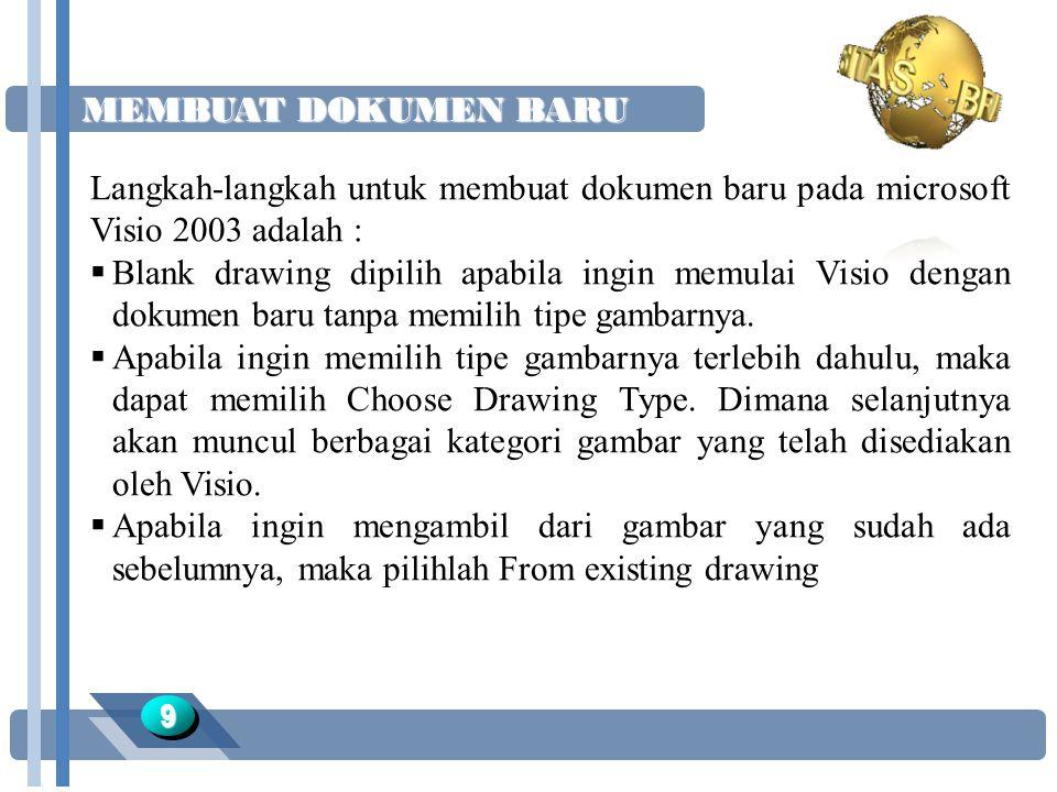 MEMBUAT DOKUMEN BARU Langkah-langkah untuk membuat dokumen baru pada microsoft Visio 2003 adalah :