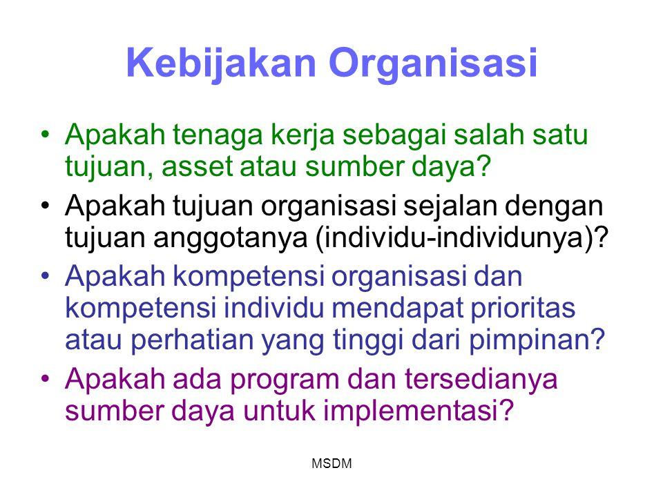 Kebijakan Organisasi Apakah tenaga kerja sebagai salah satu tujuan, asset atau sumber daya