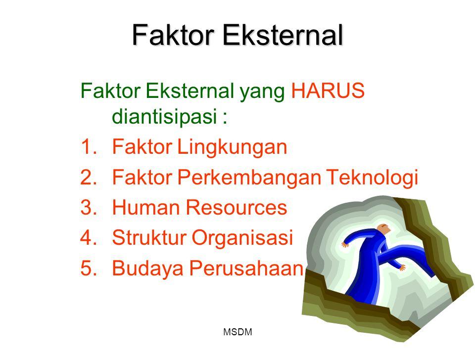 Faktor Eksternal Faktor Eksternal yang HARUS diantisipasi :