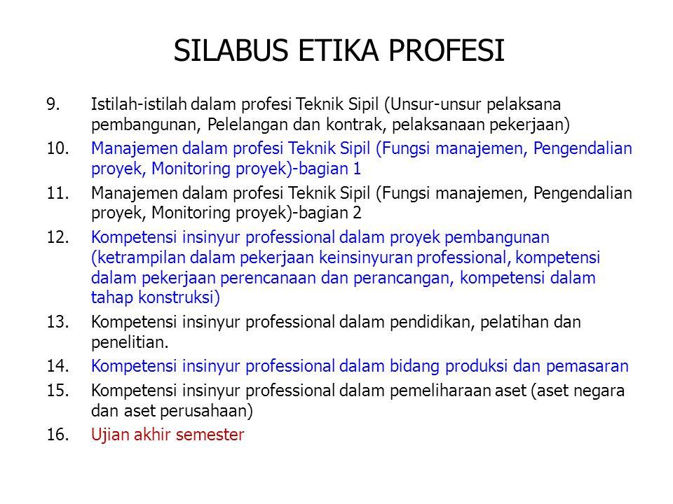 SILABUS ETIKA PROFESI Istilah-istilah dalam profesi Teknik Sipil (Unsur-unsur pelaksana pembangunan, Pelelangan dan kontrak, pelaksanaan pekerjaan)