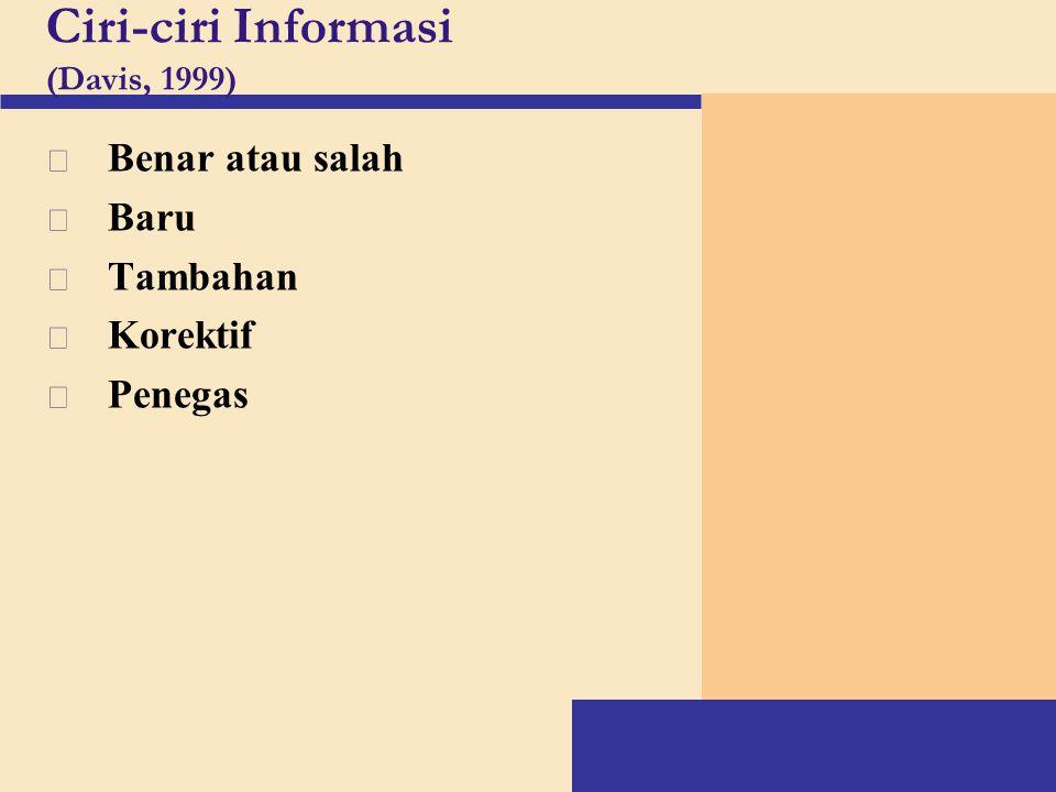 Ciri-ciri Informasi (Davis, 1999)