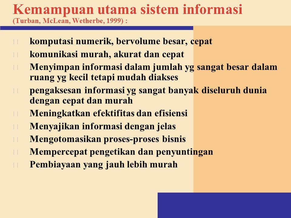 Kemampuan utama sistem informasi