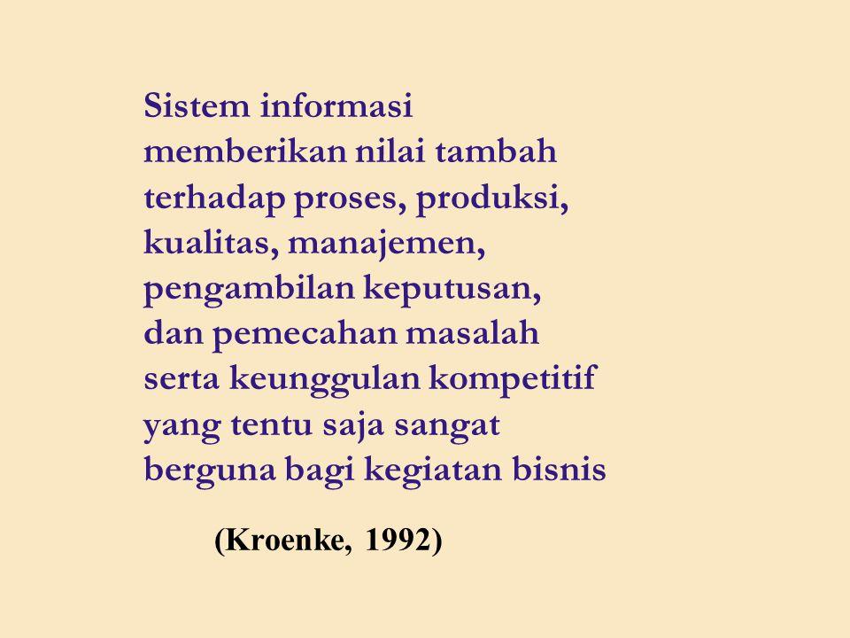 Sistem informasi memberikan nilai tambah terhadap proses, produksi, kualitas, manajemen, pengambilan keputusan, dan pemecahan masalah serta keunggulan kompetitif yang tentu saja sangat berguna bagi kegiatan bisnis