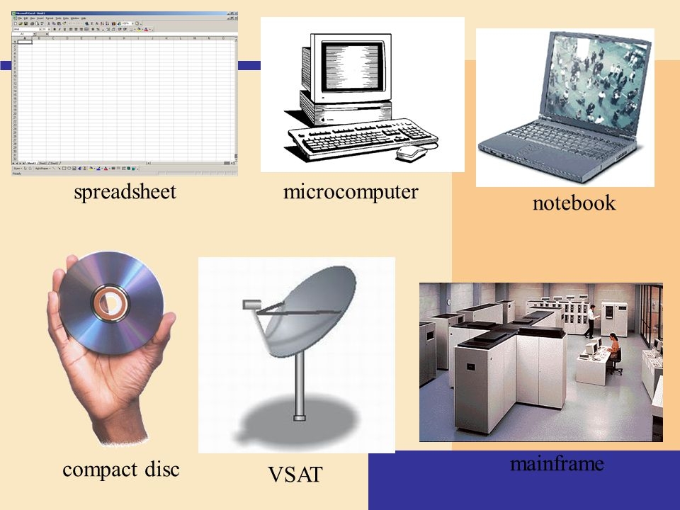 spreadsheet microcomputer notebook mainframe compact disc VSAT