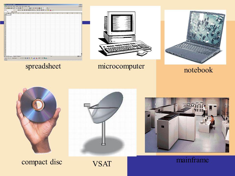 spreadsheet microcomputer notebook mainframe compact disc VSAT