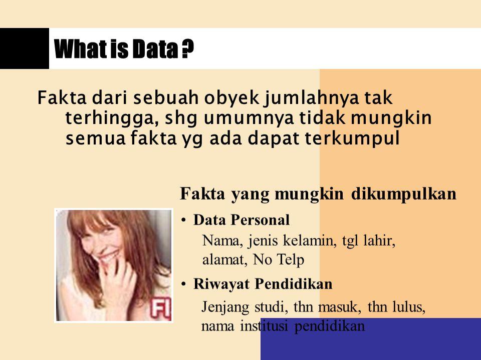 What is Data Fakta dari sebuah obyek jumlahnya tak terhingga, shg umumnya tidak mungkin semua fakta yg ada dapat terkumpul.