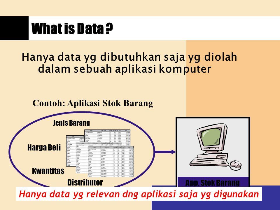 What is Data Hanya data yg dibutuhkan saja yg diolah dalam sebuah aplikasi komputer. Contoh: Aplikasi Stok Barang.