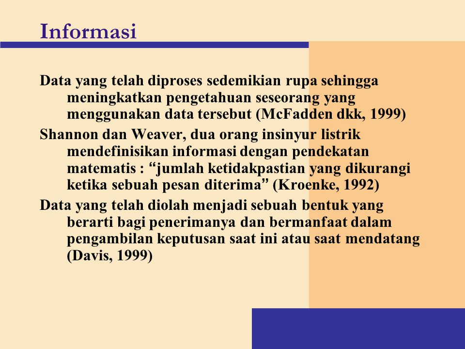 Informasi Data yang telah diproses sedemikian rupa sehingga meningkatkan pengetahuan seseorang yang menggunakan data tersebut (McFadden dkk, 1999)