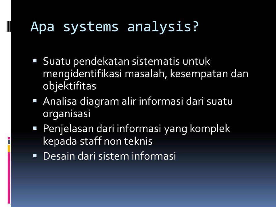 Apa systems analysis Suatu pendekatan sistematis untuk mengidentifikasi masalah, kesempatan dan objektifitas.