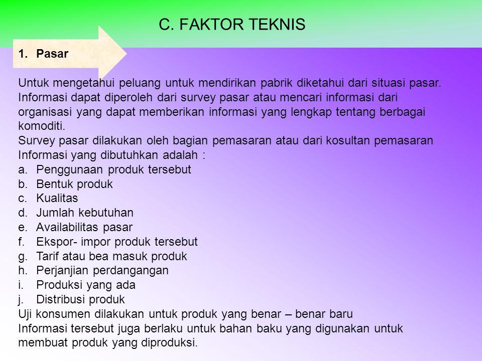 C. FAKTOR TEKNIS Pasar. Untuk mengetahui peluang untuk mendirikan pabrik diketahui dari situasi pasar.