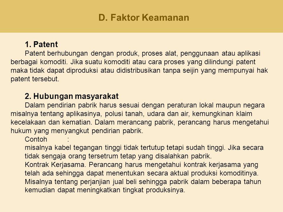 D. Faktor Keamanan 1. Patent 2. Hubungan masyarakat