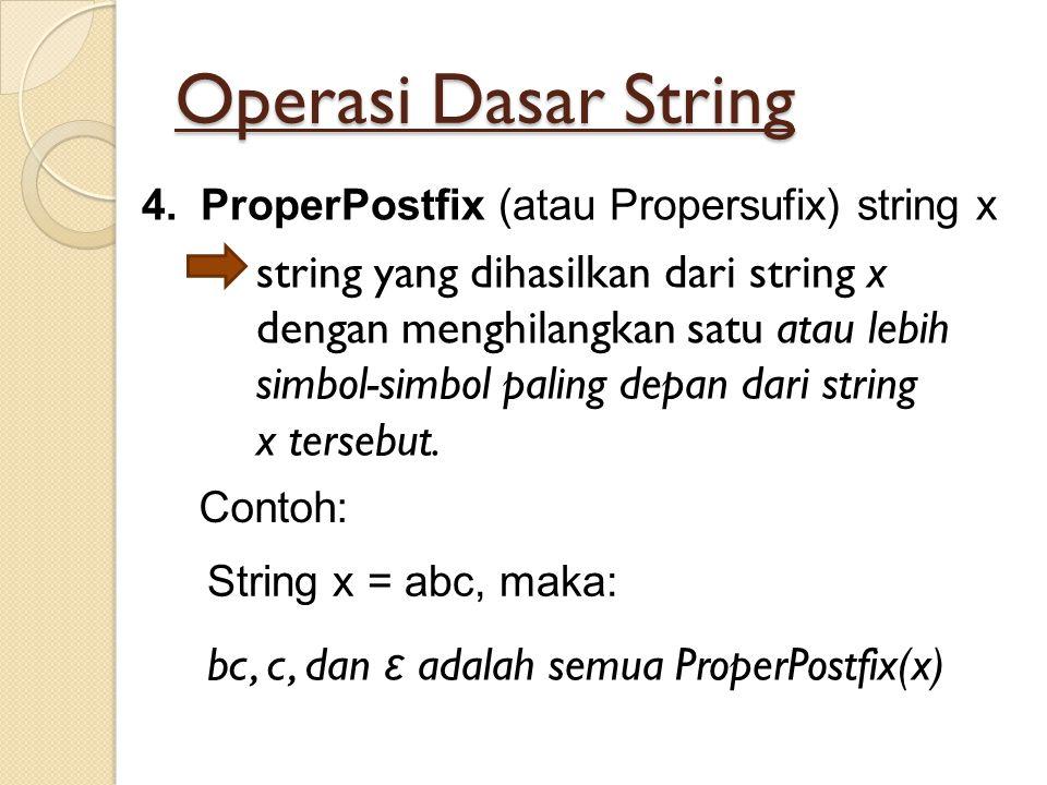 Operasi Dasar String string yang dihasilkan dari string x