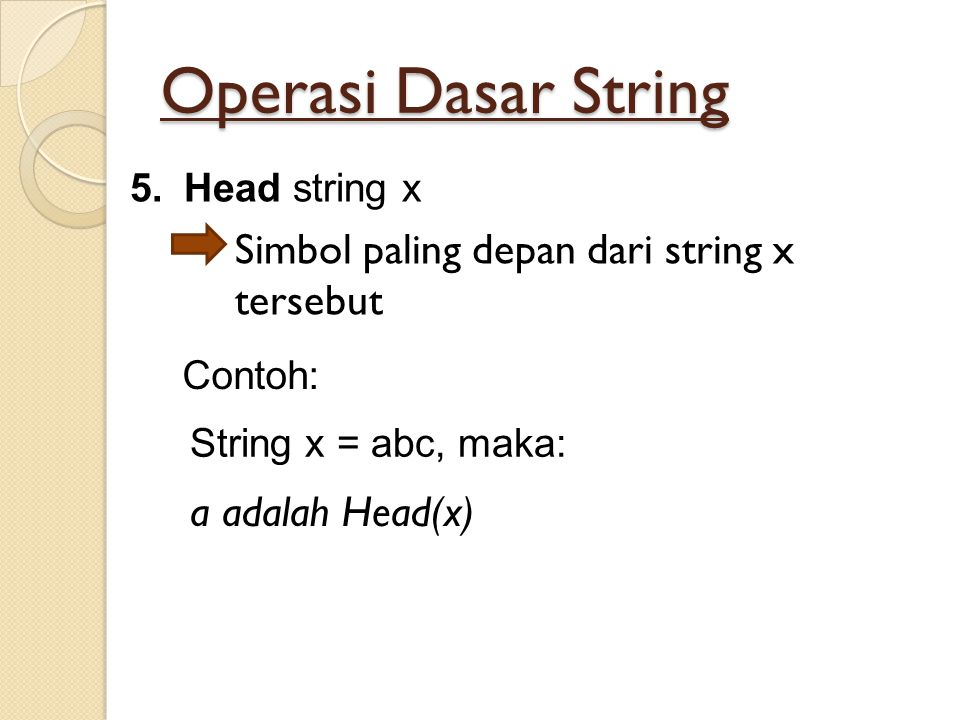 Operasi Dasar String Simbol paling depan dari string x tersebut