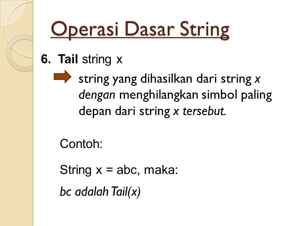 Operasi Dasar String Tail string x. string yang dihasilkan dari string x dengan menghilangkan simbol paling depan dari string x tersebut.