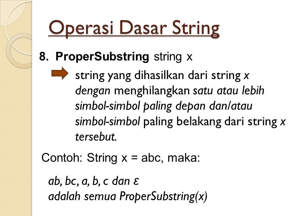 Operasi Dasar String ProperSubstring string x.